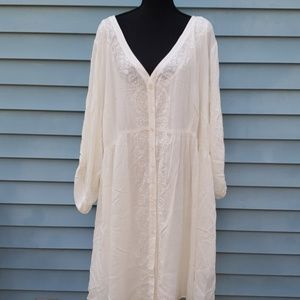 Embroidered gauze shirt dress